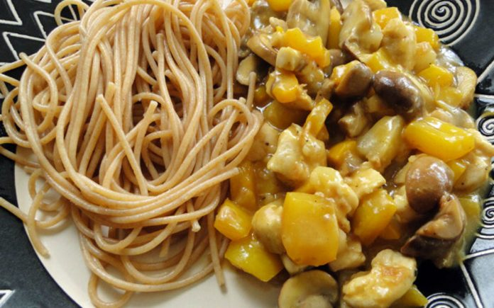 spaghetti-met-kip-in-pittige-saus